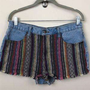 Forever 21 Aztec Print Jean Shorts